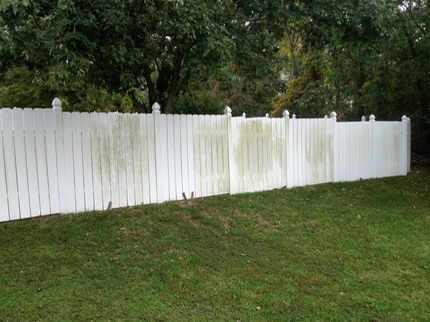 Marc's on the Glass pressure washing white vinyl and aluminum fence with mold, mildew, algae, moss with bleach in Chesterfield VA